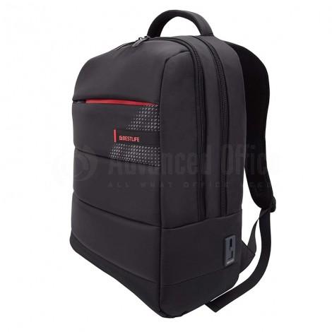 """Cartable porte PC BESTLIFE CPlus Black BB-3335R1-BK 15.6"""", Port USB et USB Type C Externe avec couvercle anti-poussière, Noir-Rouge"""