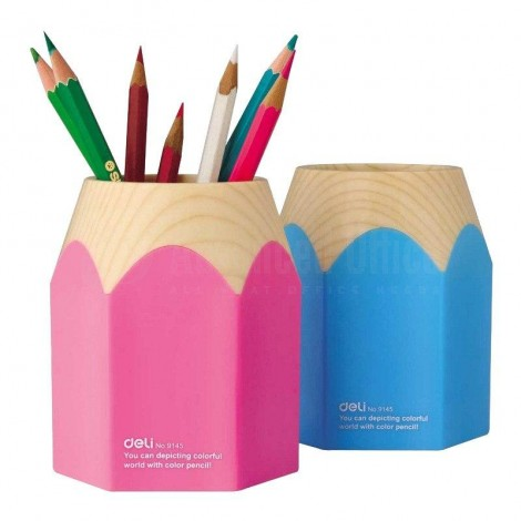 Porte Stylo écolier DELI en plastique forme crayon