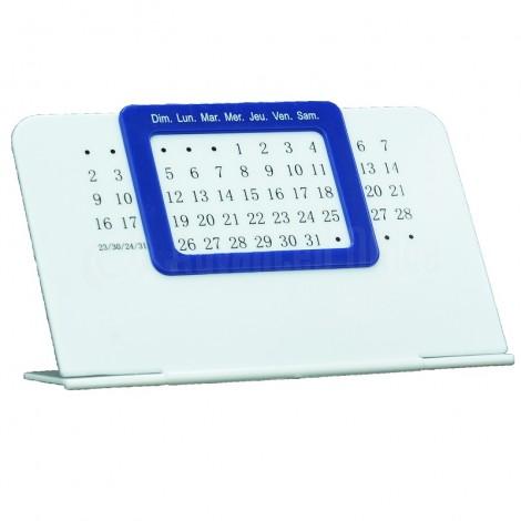 Calendrier de bureau Perpétuel unique Blanc en plastique à cadran Bleu