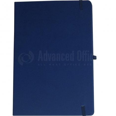 Notebook A4 175 x 260mm, 200 pages couverture PU Bleu foncé avec Boucle pour stylo
