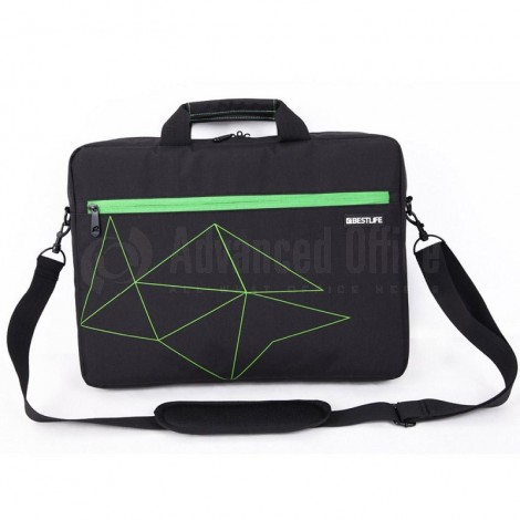 "Cartable porte PC BESTLIFE 15.6"" Multi-Compartiments Noir-Vert"