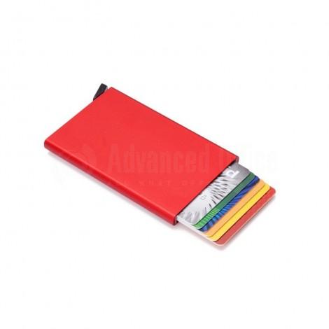 Porte carte magnétique à mécanisme en Métal Rouge