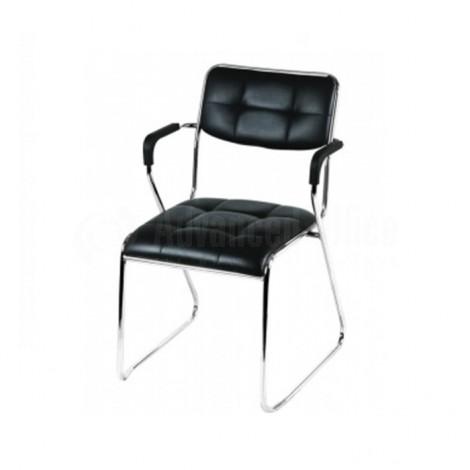 Chaise visiteur luge avec accoudoirs rembourrés, Noir
