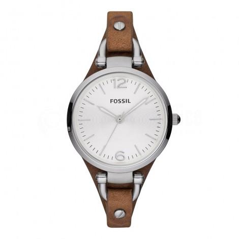 Montre pour femme FOSSIL ES3060 Bracelet en cuir véritable Marron foncé