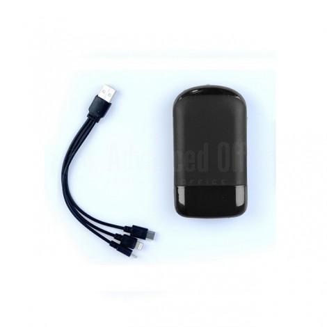 Coffret Power Bank RIDEX 6000mAh Noir avec Câble de charge 1 en 3 (Lightning/Type-C/Micro USB)