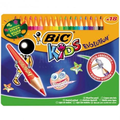 Boite métalique de 18 crayons de couleur BIC Kids Evolution