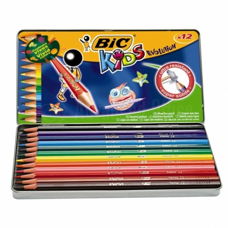 Boite métalique de 12 crayons de couleur BIC Kids Evolution