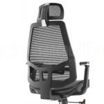 Chaise directionnelle filet RAINBOW siège en tissus Noir avec accoudoir repose tête piétement Chromé Advanced Office