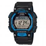 image. Montre Sport Homme CASIO S100H Tough Solar, Chronomètre 1/100 sec, Heure mondiale, Bracelet en résine, Bleu  -  Advanced Office