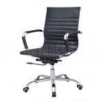 Chaise opérateur TXW-2007 en simili cuir Noir avec accordoir piétement métallique - Advanced Office