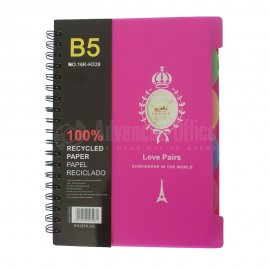 Note book Spiral HAIZHIJIE 16K-H339 B5 190 x 260mm 4 intercalaires  -  Advanced Office