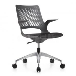 Chaise opérateur PP siège en tissu Noir avec accoudoirs, piétement métallique Noir  -  Advanced Office