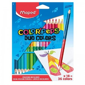 Boite de 18 Crayons couleurs MAPED Color'peps Duo  -  Advanced Office