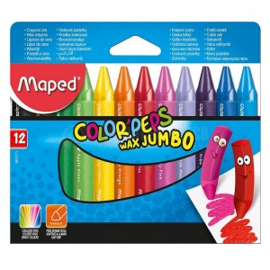 Boite de 12 Craies à cire MAPED Color'peps Wax jumbo Triangulaire  -  Advanced Office