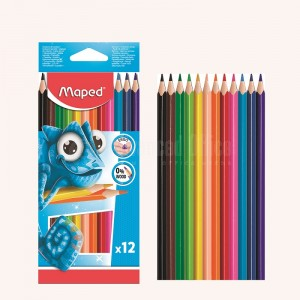 Boite de 12 crayons couleur MAPED Triangulaires en plastique  -  Advanced Office