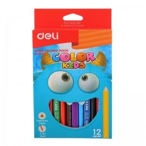 Boite de 12 crayons de couleur DELI Color Kids Jumbo C006 00 Triangulaire GM + Taille crayon