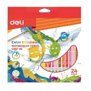 Boite de 24 crayons de couleur Aquarelle Pré-aiguisé DELI Color Emotion C007 20 Tête trempée