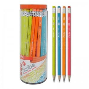 Crayon noir DELI Scribe Graphite 2B avec gomme