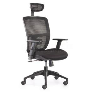Chaise directionnelle filet siège en tissus noir avec repose tête piétement métallique, série JLN