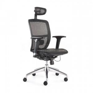 Chaise directionnelle filet noir avec repose tête piétement métallique, série JXN