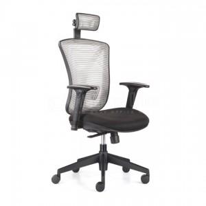 Chaise directionnelle filet, siège en tissu Noir avec repose tête & accoudoirs, série Y