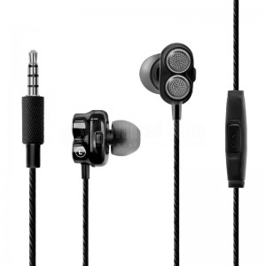 Ecouteurs Intra-Auriculaires Kit main libre PROMATE Onyx Bass Boost Dual Driver, Jack 3.5mm, Noir  -  Advanced Office