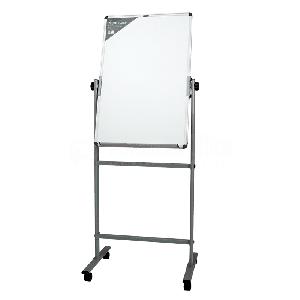 Tableau blanc magnétique mobile DELI 60 x 90cm Double faces Piétement en H à roulettes
