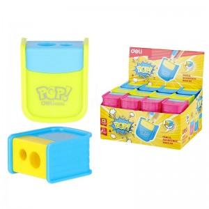 Taille Crayon Scolaire DELI R003 00 Pop! 2 trous avec réservoir Multi couleurs