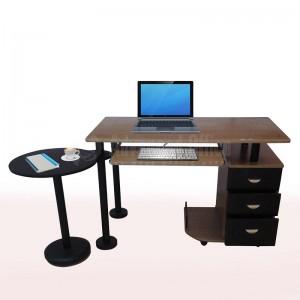 Table pour PC, tiroir clavier en bois Marron clair, 3 tiroirs et retour fixe rond pour imprimante Noir  -  Advanced office