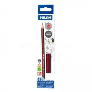 image. Crayon MILAN 137 Graphite HB Triangulaire avec Gomme  -  Advanced Office