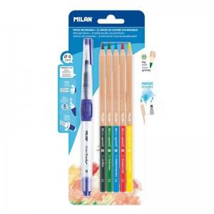 Blister Pinceau M synthétique rond 4mm à réservoir d'eau rechargeable de 8 ml Water Brush MILAN  + 5 crayons aquarelles 3.5mm