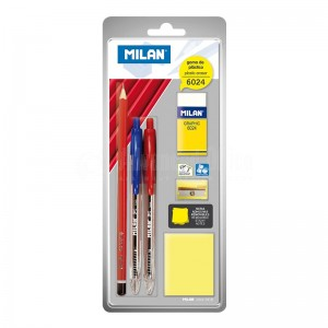 Ensemble Scolaire MILAN Stylo+ crayon + taille + post it sous blister