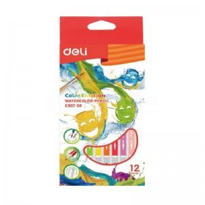Boite de 12 crayons de couleur Aquarelle Pré-aiguisé DELI Color Emotion C007 00 Tête trempée  -  Advanced Office Algérie