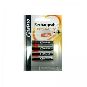 Jeu de 4 piles UNIROSS Casino rechargeable HR03/AAA/1.2V 800 mAh Ni-mh étanche