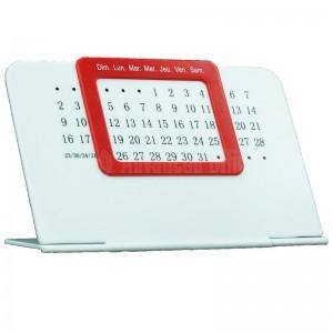 Calendrier de bureau Perpétuel unique Blanc en plastique à cadran Rouge