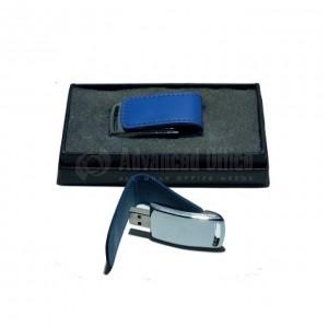 Flash disque 16Go en cuir Bleu foncé en Boite Noir