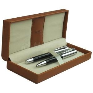 Parure EXTRAVAG 2 Stylos Bille et Roller Noir-Silver Chromé en Boite luxe simili cuir Marron