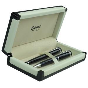 Parure EXTRAVAG 2 Stylos Bille et Roller Noir-Silver Chromé en Boite luxe Blanc et Noir
