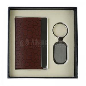 Coffret (Porte clé rectangle à coins arrondis + Porte carte visite Crocodile Marron)