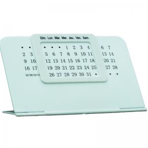 Calendrier de bureau Perpétuel unique Blanc en plastique à cadran Blanc