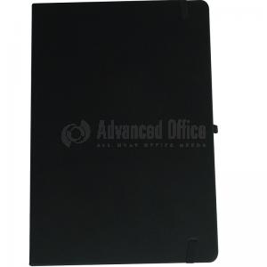Note book A6 150 x 105mm, 200 pages couverture PU Noir avec Boucle pour stylo