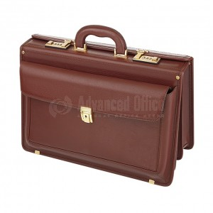 Mallette Attaché case VERTEX Luxe en cuir Marron  -  Advanced Office Algérie