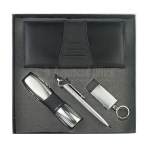 Coffret Luxe RIDDEX 4 pièces (Torche Multifonctions + Stylo/Stylet Support Smartphone + Porte Chéquier Noir + Porte clé Multifonction)