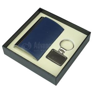 Coffret RIDDEX 2 pièces (Porte carte visite bombé Bleu, Porte clé chromé Multi formes)