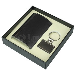 Coffret RIDDEX 2 pièces (Porte carte visite bombé Marron, Porte clé chromé Multi formes)