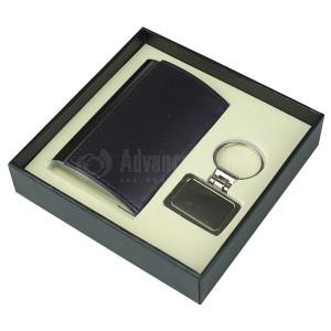 Coffret RIDDEX 2 pièces (Porte carte visite bombé Noir, Porte clé chromé Multi formes)