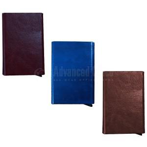 Porte carte magnétique à mécanisme 141-7 Métallique coque en simili cuir Bleu foncé