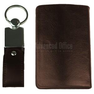 Coffret RIDDEX 2 pièces (Porte carte visite bombé Marron + Port clé USB simili cuir 16Go)