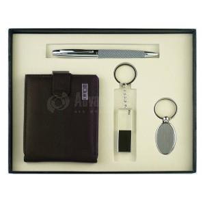 Coffret Luxe RIDEX 4 pièces (Portefeuille cuir Marron + Stylo roller OXFORD + Porte clé chromé + Flash disk 16Go)