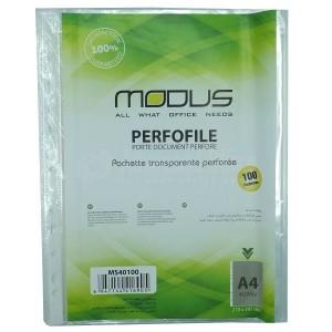Rame de 100 pochettes perforées transparentes grainées A4 MODUS 40 Mic  -  Advanced Office Algérie
